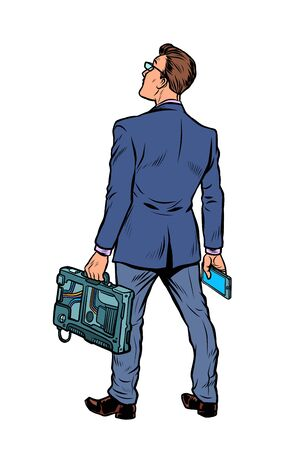 businessman with briefcase and phone. isolate on white background Pop art retro vector illustration vintage kitsch