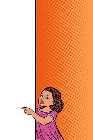 African girl daughter child. Point to copy space poster. Pop art retro vector Illustrator vintage kitsch drawing