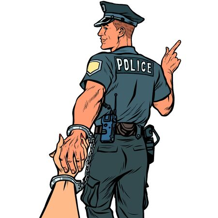 follow me police officer arrested woman. love and marriage concept. isolate on white background Pop art retro vector illustration kitsch vintage