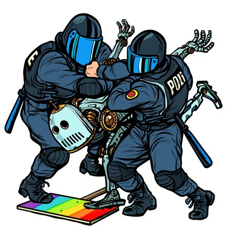Fight the future. Robot. Police arrest activist protest lgbt gay parade. Pop art retro vector Illustrator vintage kitsch drawing