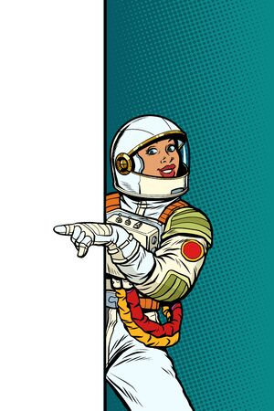 african Girl woman astronaut. Point to copy space poster. Pop art retro vector Illustrator vintage kitsch drawing