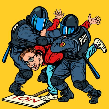 Police detain a protester, the violence against the opposition. Pop art retro vector Illustrator vintage kitsch drawing
