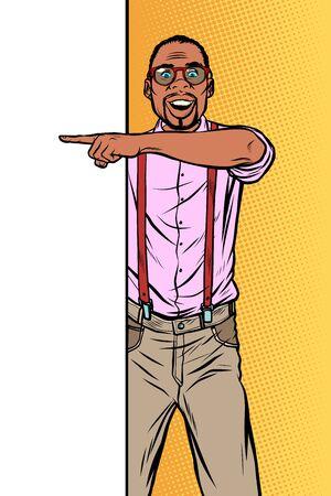 african hipster man. Point to copy space poster. Pop art retro vector Illustrator vintage kitsch drawing Illusztráció