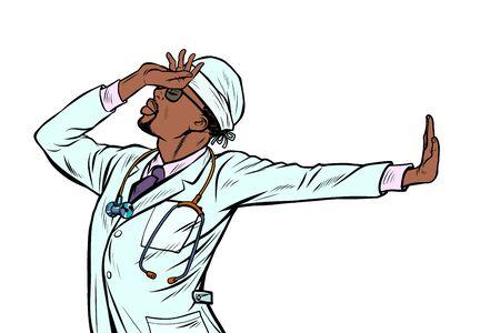 african doctor man medicine. shame, denial gesture, no. Pop art retro vector Illustrator vintage kitsch drawing Illustration