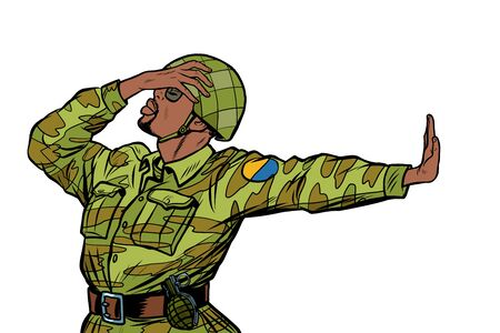 african soldier in uniform shame denial gesture no. anti militarism pacifist. Pop art retro vector Illustrator vintage kitsch drawing