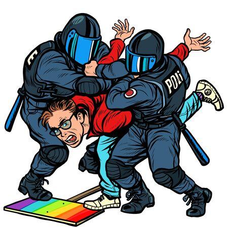 Police arrest activist protest lgbt gay parade. Pop art retro vector Illustrator vintage kitsch drawing