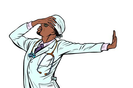 doctor man medicine. shame, denial gesture, no. Pop art retro vector Illustrator vintage kitsch drawing Ilustração