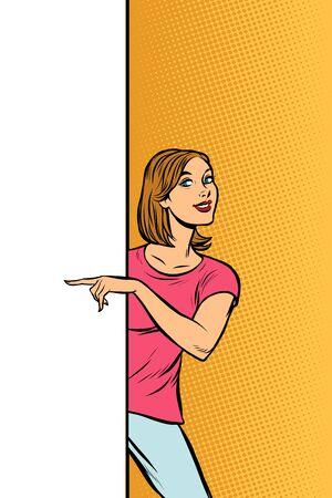 chica mujer señala para copiar publicidad de carteles de espacio. Arte pop retro vector ilustrador vintage kitsch dibujo