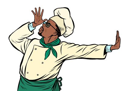 African cook chef, gesture of shame. denial no. Pop art retro vector Illustrator vintage kitsch drawing Illustration
