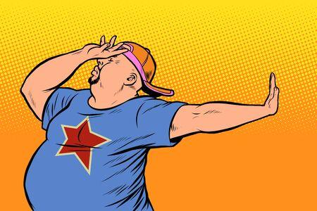 fat man. gesture no, shame. Pop art retro vector Illustrator vintage kitsch drawing Foto de archivo - 128167915