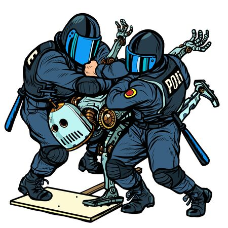 Fighting the future. Police arrest a protesting robot. Pop art retro vector Illustrator vintage kitsch drawing