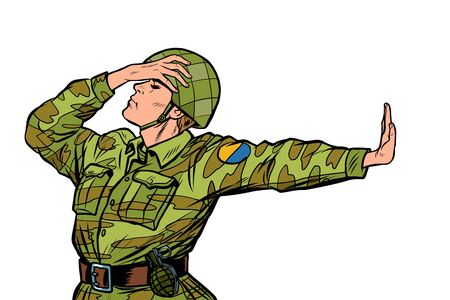 Caucasian soldier in uniform shame denial gesture no. anti militarism pacifist. Pop art retro vector Illustrator vintage kitsch drawing Ilustração
