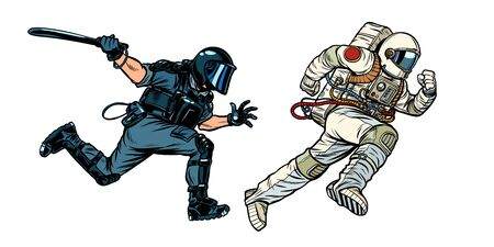 astronaut and riot police with a baton. Pop art retro vector illustration drawing Illustration