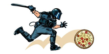 Italian pizza. riot police with a baton. Pop art retro vector illustration drawing