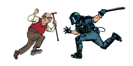 pensioners against the police. riot police with a baton. Pop art retro vector illustration drawing