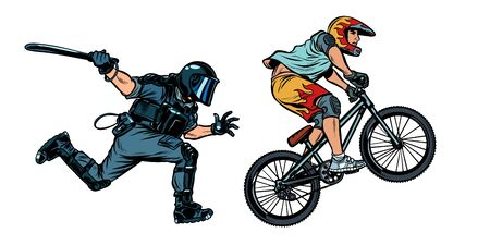 extreme sports cyclist. riot police with a baton. Pop art retro vector illustration drawing