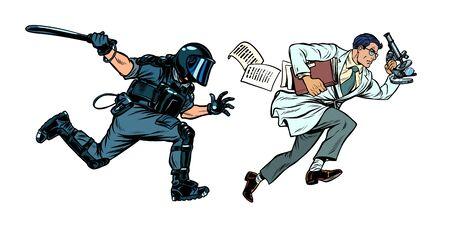 die Regierung ist gegen die Wissenschaft. Bereitschaftspolizei mit einem Schlagstock. Pop-Art Retro-Vektor-Illustration-Zeichnung