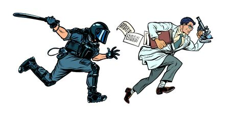 the government is against science. riot police with a baton. Pop art retro vector illustration drawing