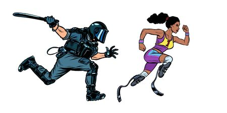 african female runner athlete with a disability. riot police with a baton. Pop art retro vector illustration drawing