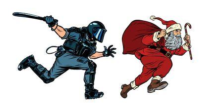Santa Claus Christmas. riot police with a baton. discrimination against Christians. Pop art retro vector illustration drawing