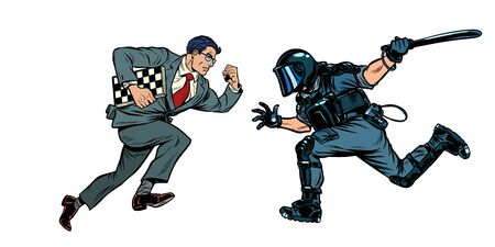 intelligence versus strength. chess player and riot police with a baton. Pop art retro vector illustration drawing