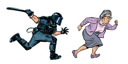 old woman pensioner. riot police with a baton. Pop art retro vector illustration drawing Banco de Imagens - 127475462
