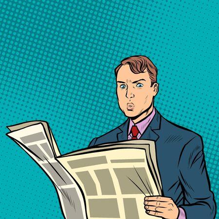 człowiek czyta gazetę. Pop-art retro wektor ilustracja rysunek