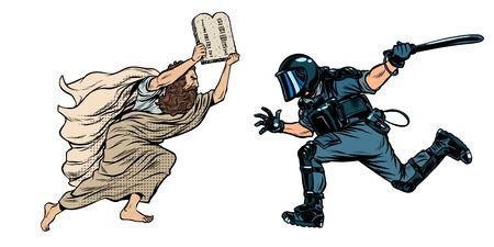 discriminación contra los cristianos y la religión. Moisés con la Biblia. policía antidisturbios con una porra. Dibujo de ilustración de vector retro pop art Ilustración de vector