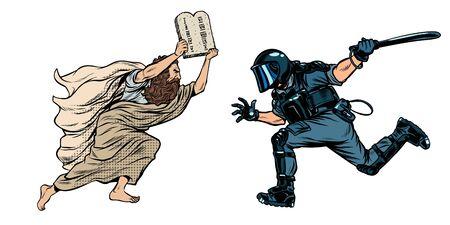 discriminazione contro i cristiani e la religione. Mosè con la Bibbia. polizia antisommossa con un manganello. Disegno di illustrazione vettoriale retrò pop art Vettoriali