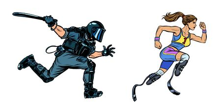 female runner athlete with a disability. riot police with a baton. Pop art retro vector illustration drawing Illustration