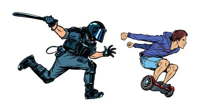 teen skateboarder. riot police with a baton. Pop art retro vector illustration drawing