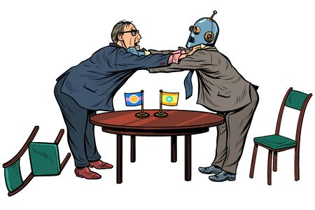policy diplomacy and negotiations. Fight opponents. man versus robot. new technologies and progress concept. Pop art retro vector illustration drawing