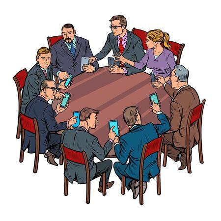 businessmen meeting man and woman. smartphones gadgets technology. Pop art retro vector illustration drawing Illusztráció