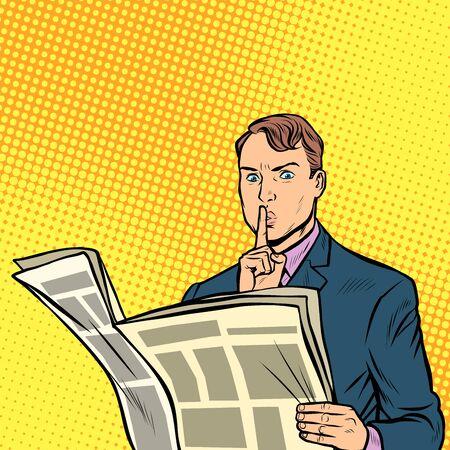 media censorship. man reading a newspaper. Pop art retro vector illustration drawing