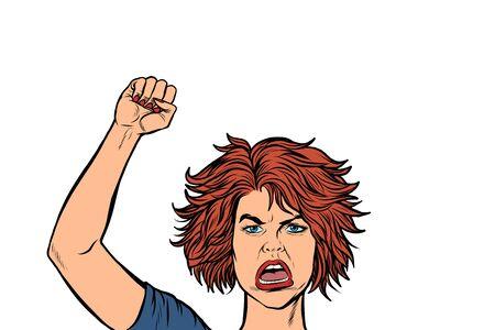 mujer manifestante enojado, rally resistencia libertad democracia. Dibujo de ilustración de vector retro pop art