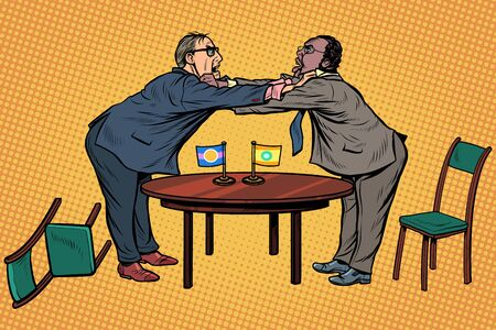 racial discrimination. policy diplomacy and negotiations. Fight opponents. Pop art retro vector illustration drawing