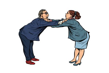 man against woman. gender confrontation and enmity. policy diplomacy and negotiations. Fight opponents. Pop art retro vector illustration drawing