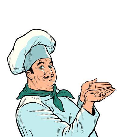 the chef cook presents. food advertising. Pop art retro vector illustration drawing Illusztráció
