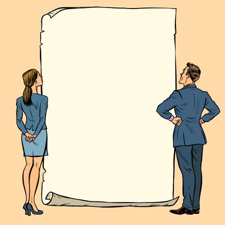 man and woman blank banner. Pop art retro vector illustration drawing