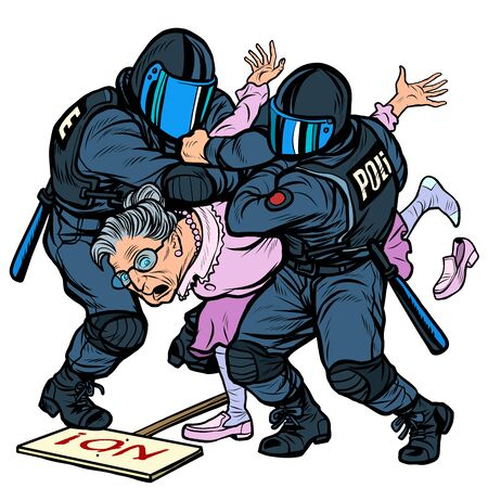 police arrest of a protesting pensioner. Pop art retro vector illustration drawing