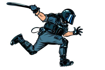 riot police with a baton. Pop art retro vector illustration drawing