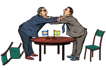 policy diplomacy and negotiations. Fight opponents. Pop art retro vector illustration drawing Çizim