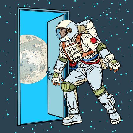 paso de astronauta en la luna Ilustración de vector