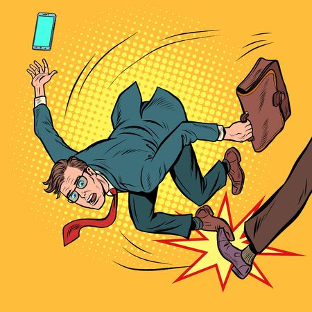 businessman falls. business competition and unfair practices. Pop art retro vector stock illustration drawing