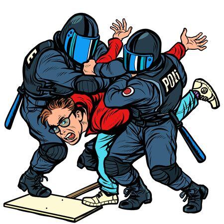 La police arrête un manifestant, la violence contre l'opposition. Pop art retro vector Illustrator dessin kitsch vintage Vecteurs