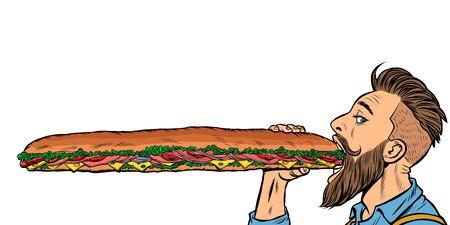 człowiek je długą kanapkę. Pop-artu retro wektor ilustracji, rysunek stock