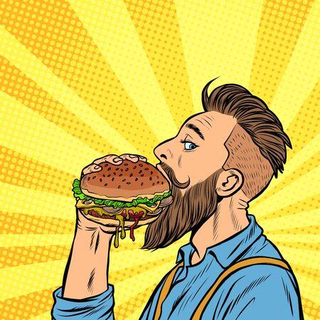 Hipster-Mann, der Burger isst. Pop-Art-Retro-Vektor-Lager-Illustrationszeichnung