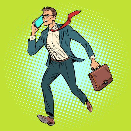 CEO businessman with phone goes
