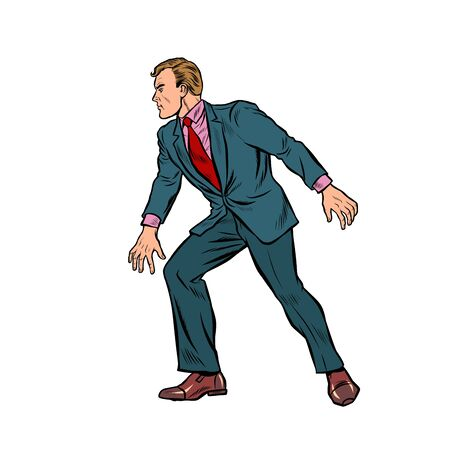 cautious businessman sneaks, takes a step. Pop art retro vector stock illustration drawing