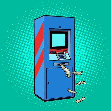 ATM money. cash theft issuance loss. Pop art retro vector stock illustration drawing Illusztráció